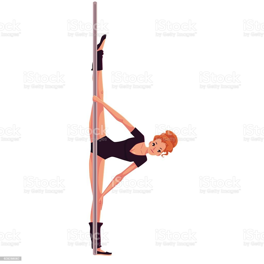 Young pole dance woman in black leotard doing hand stand vector art illustration