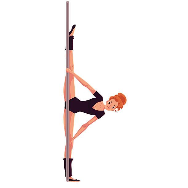 young pole dance woman in black leotard doing hand stand - spagat stock-grafiken, -clipart, -cartoons und -symbole