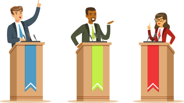 Young Politician Male And Female Speakers Behind Rostrum In Debates Vector Illustration Set Isolated On White Background Young politician male and female speakers behind rostrum. Men and women in business suits participating in debates, presenting their election campaign, giving a speech debate stock illustrations