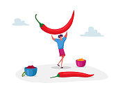 Young Positive Woman Holding Huge Red Chili Jalapeno Pepper above Head and Bowls with Meal around. Female Character with Hot Ingredient for Cooking Spicy Seasoning Dish. Cartoon Vector Illustration