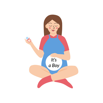 Young pregnant woman baby gender reveal vector illustration. It's a boy