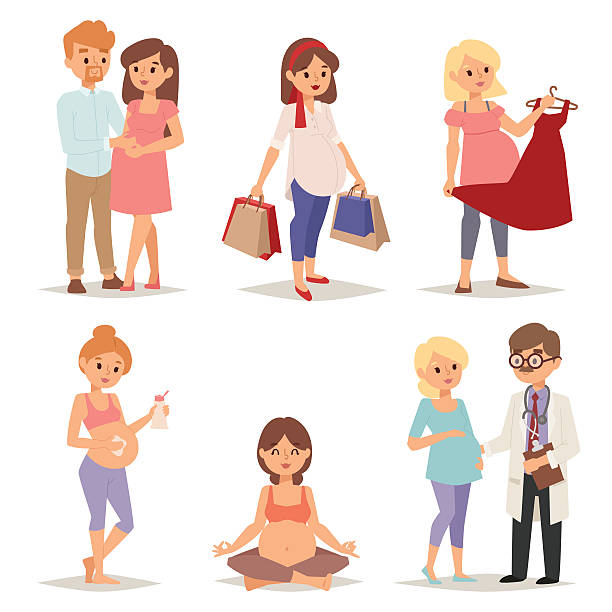 illustrazioni stock, clip art, cartoni animati e icone di tendenza di giovane donna incinta, pancia della gravidanza donna attesa bellissima in futuro - couple portrait caucasian