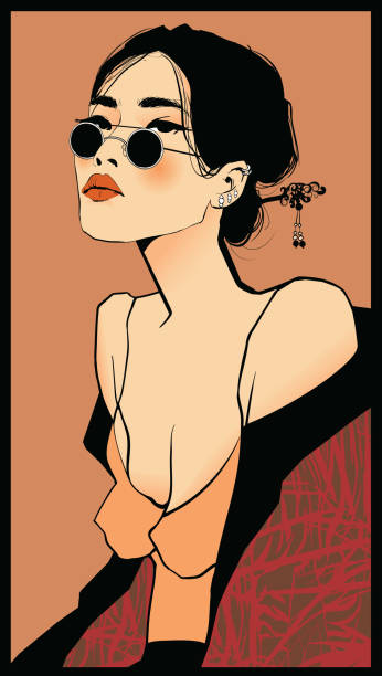 Young pretty asian woman with sunglasses vector art illustration