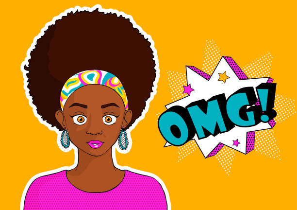 Young pretty black girl woman in pop art syle omg - ilustração de arte vetorial