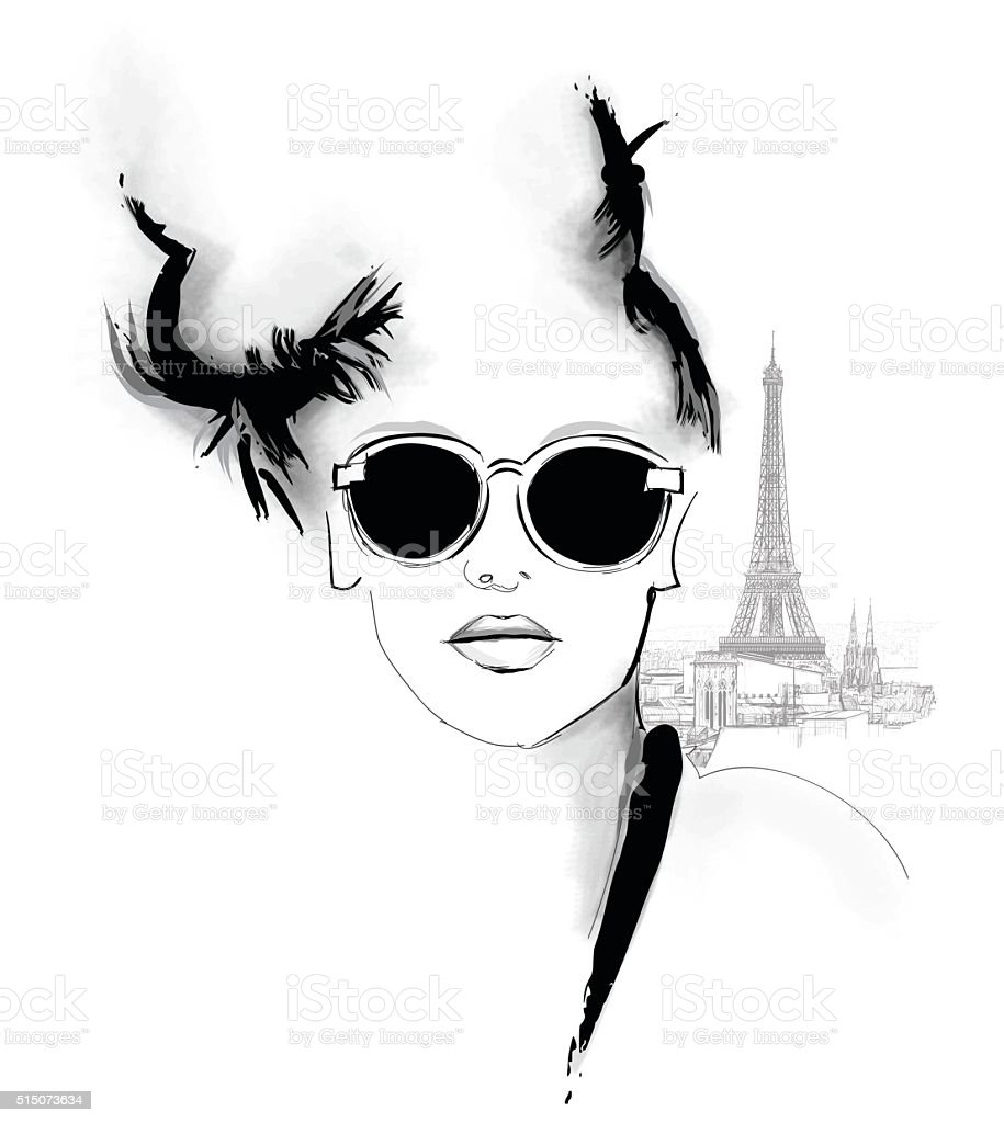 Young pretty fashion model in Paris vector art illustration