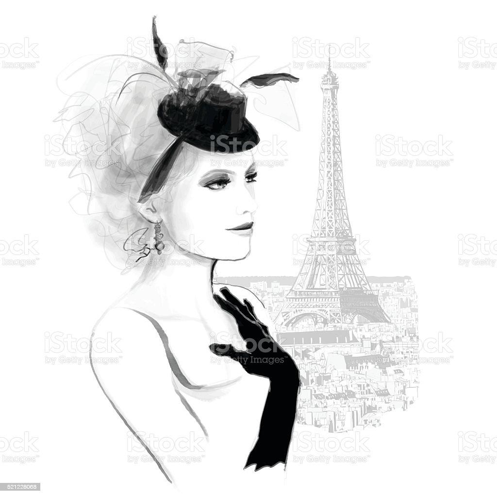 女性は若くきれいでパリのファッションのモデル イラストレーションの