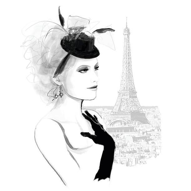 ilustraciones, imágenes clip art, dibujos animados e iconos de stock de joven hermosa modelo de moda en parís - moda parisina