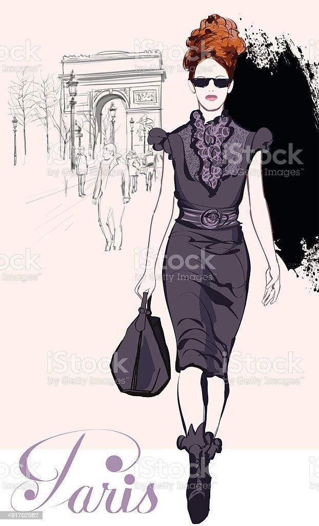 Jovem moda linda perto do Arco do Triunfo - ilustração de arte em vetor