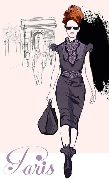 若い可愛らしいファッションの近くの凱旋門 - パリのファッション点のイラスト素材/クリップアート素材/マンガ素材/アイコン素材