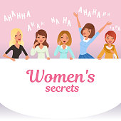 Young pretty girls loudly laughing. Women s secrets concept. Cartoon female characters with smiling facial expressions. Emotional people. Hahaha text. Pink background. Colorful flat vector design.