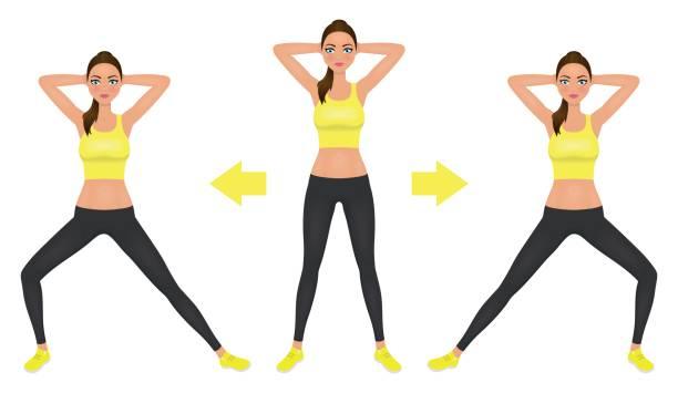 Junge hübsche Frau machen Longe Übung mit Händen hinter dem Kopf. Mädchen in Leggings und bauchfreies Top fit. Vektor-Illustration. – Vektorgrafik
