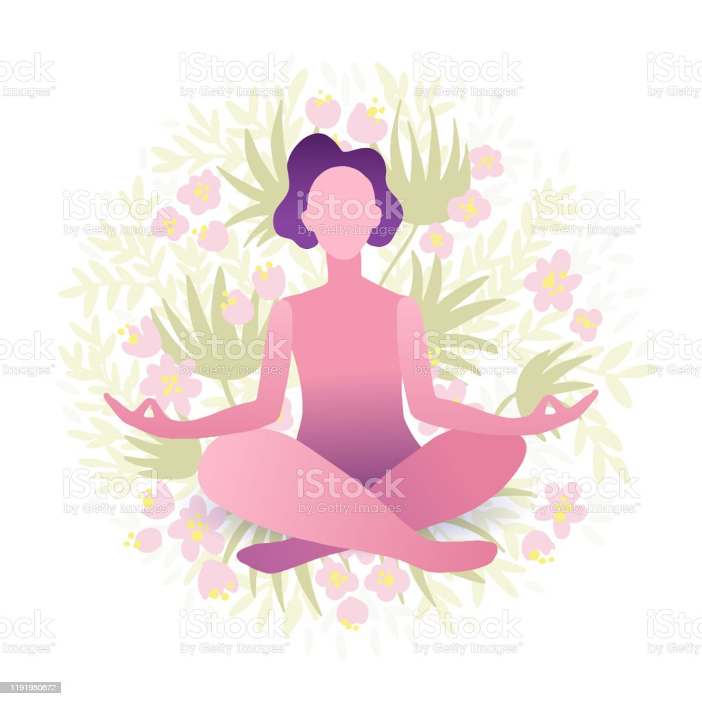 Young Pretty Woman Performing Yoga Exercise Female Cartoon Character Sitting In Lotus Posture And Meditating Vipassana Stock Illustration Download Image Now Istock