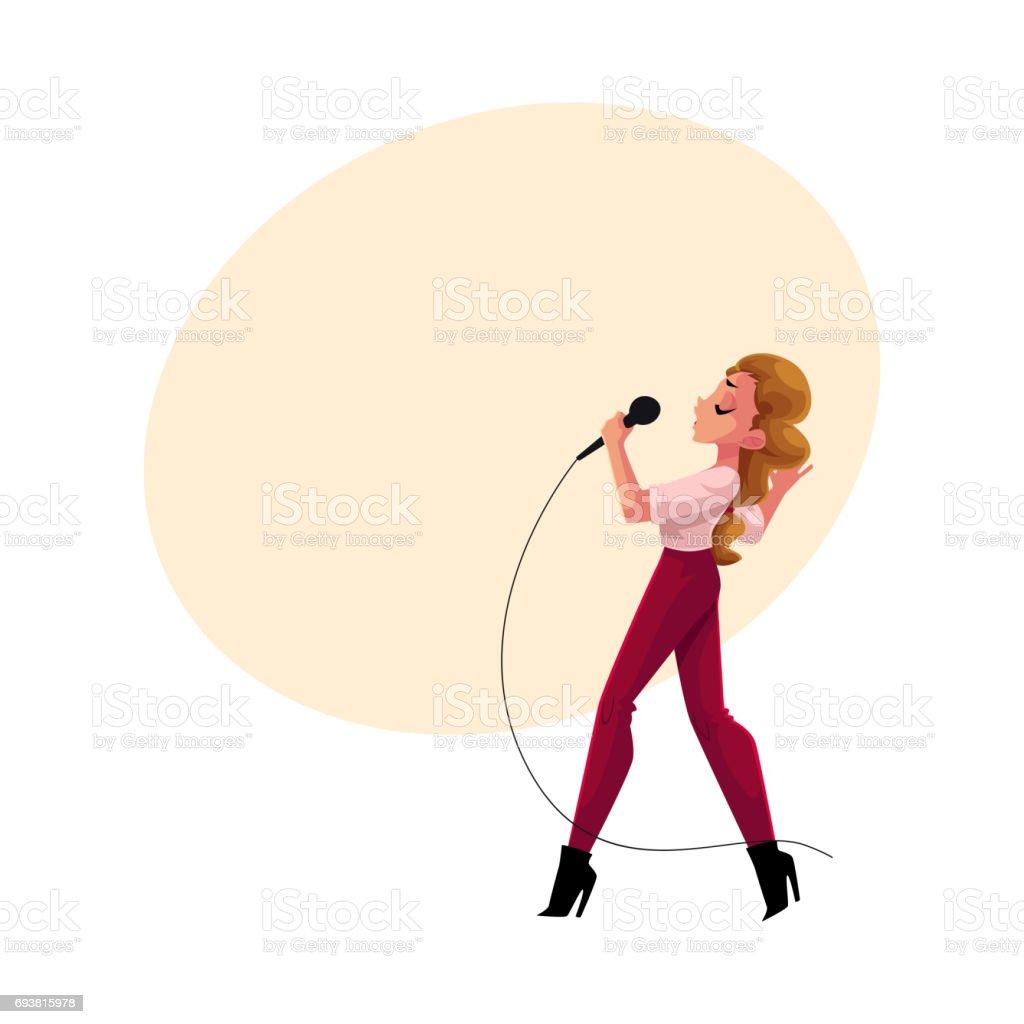 若い可愛い女性がマイクカラオケ パーティーコンテスト競争に歌う