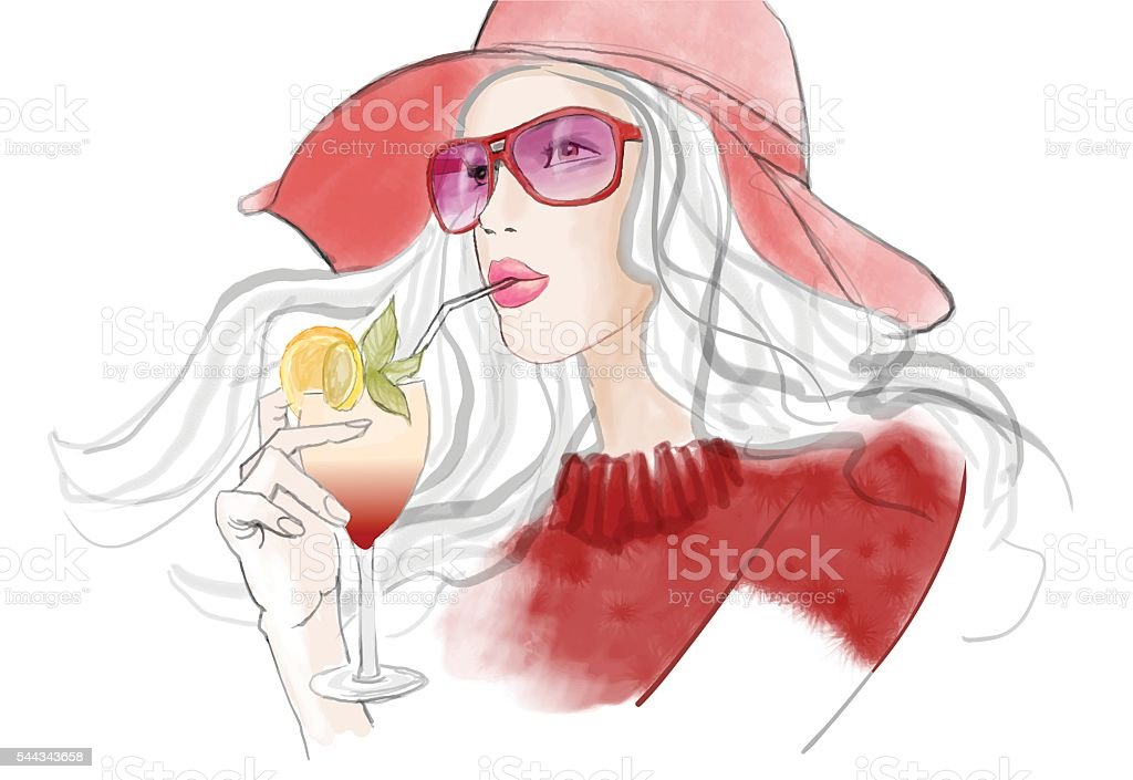 Young pretty woman with hat having a cocktail vector art illustration