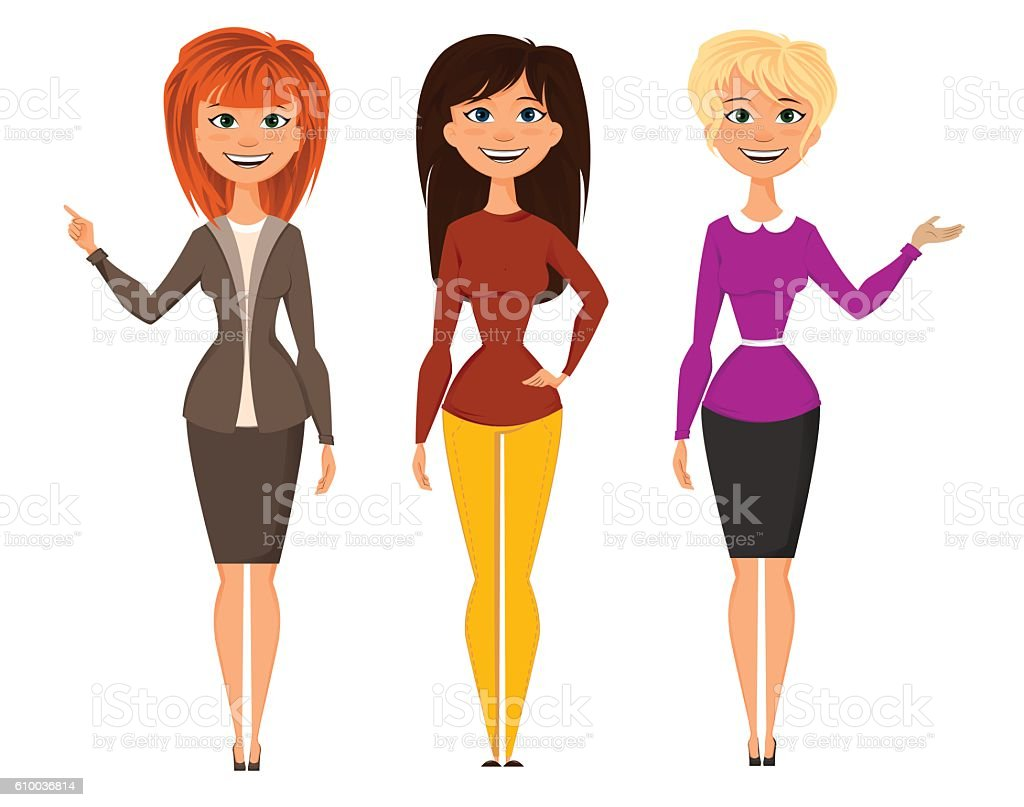 Young pretty women in smart office clothes. Vector EPS10 vector art illustration