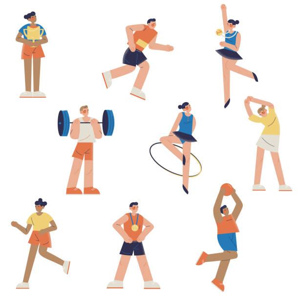 stockillustraties, clipart, cartoons en iconen met jonge professionele atleten in verschillende soorten de zomersport tijdens competities - atlete