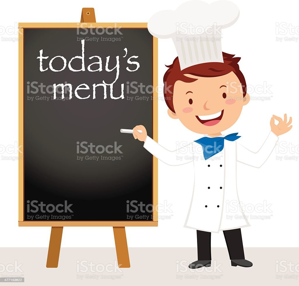 Young professional chef man vector art illustration