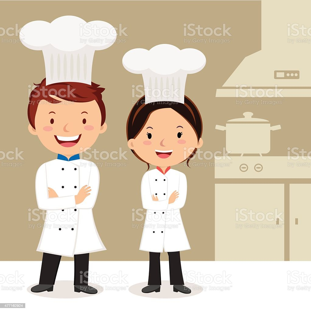 Young professional chefs vector art illustration
