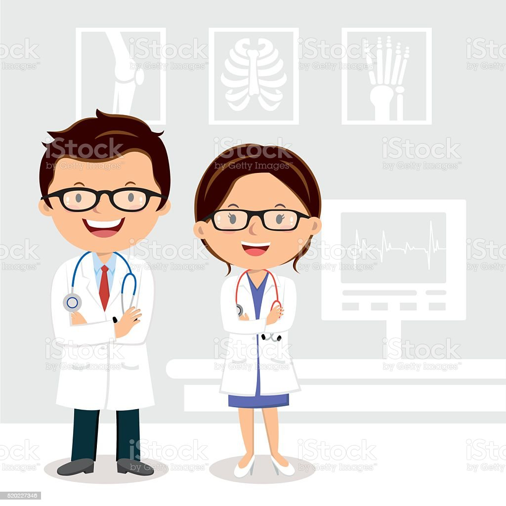 Young professional doctors vector art illustration