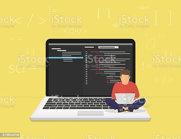 Jeune Programmeur Un Nouveau Projet De Codage Vecteurs libres de droits et plus d'images vectorielles de Adulte