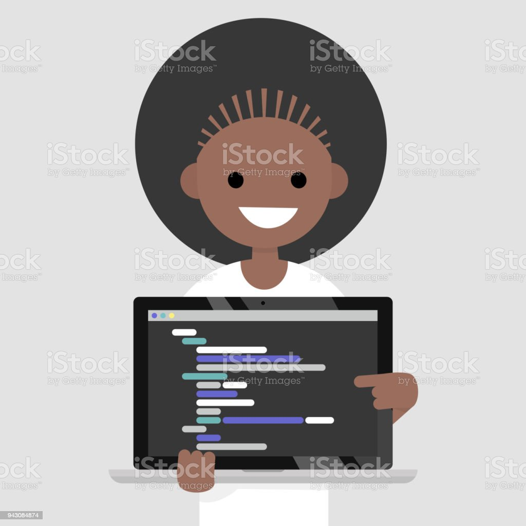 Young programmer pointing on the laptop screen. Programming code....