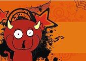 young red demon cartoon halloween background in vector format