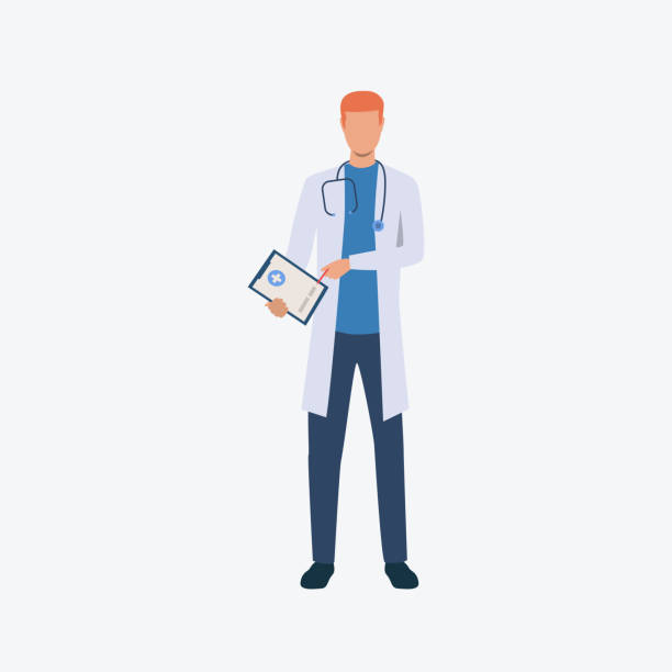 Young red haired therapist Young red haired therapist. Professional, medicine, clothing. Can be used for topics like professional, working, job, hospital male nurse stock illustrations