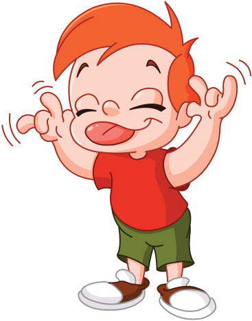 Young red headed boy makes silly face using tongue and hands
