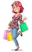Vector illustration of a red-haired, smiling young woman wearing casual clothes, going shopping. She is carrying a couple of shopping bags and is waving to the camera.