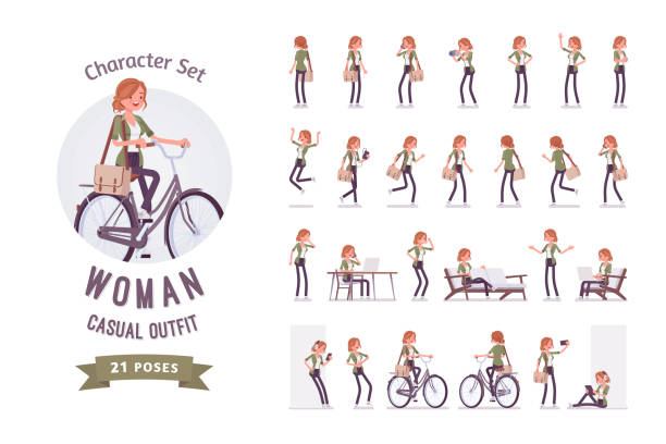 Young red-haired woman ready-to-use character set Young red-haired woman ready-to-use character set. Caucasian girl with ginger hair, wearing urban haki jacket and accessories, working, resting. Full length, different views, gestures, emotions group of objects stock illustrations