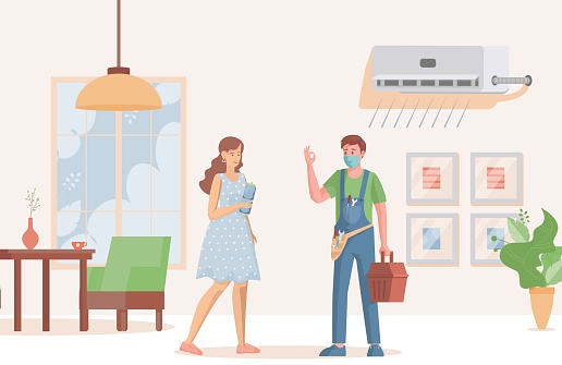 Young repair specialist installs or repairs air conditioner for young woman vector flat illustration.
