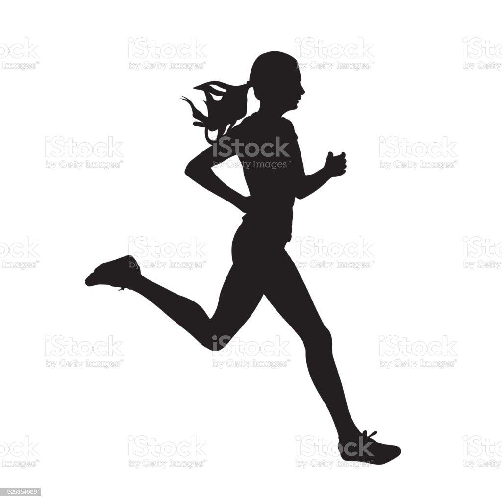 Marcha joven silueta vector aislado. Ejecución, vista lateral ilustración de marcha joven silueta vector aislado ejecución vista lateral y más vectores libres de derechos de actividad libre de derechos