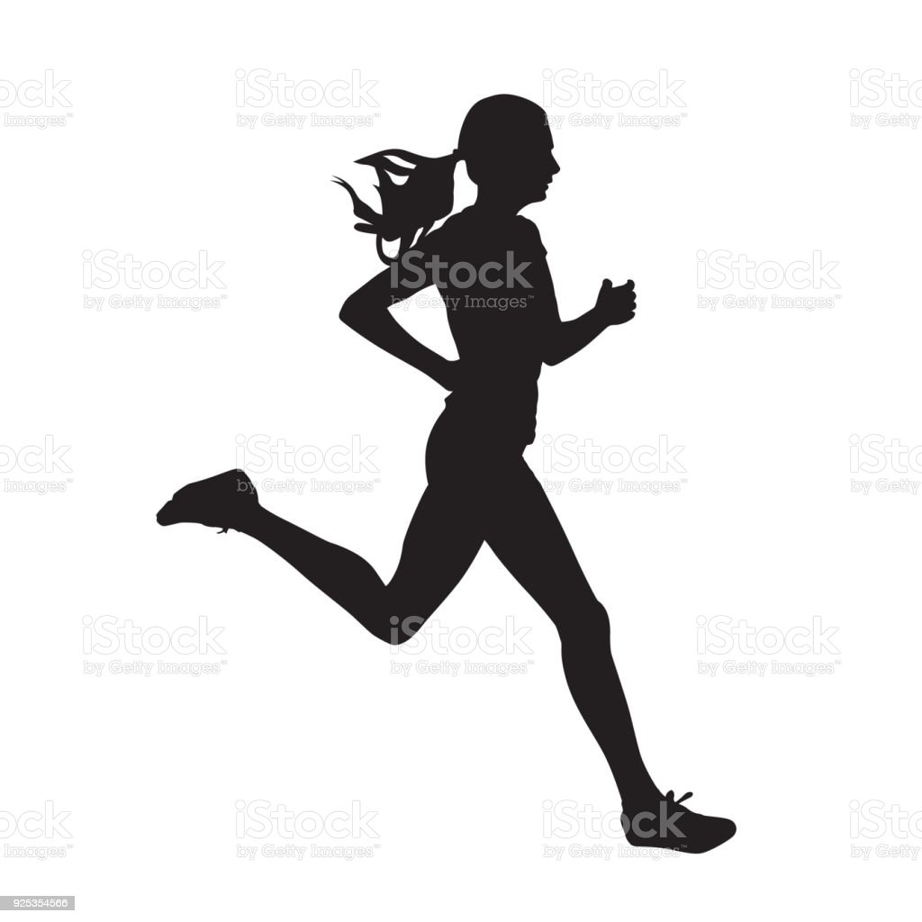 Young running woman, isolated vector silhouette. Run, side view vector art illustration