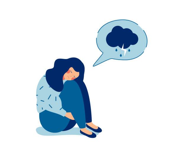 stockillustraties, clipart, cartoons en iconen met jonge triest meisje zitten en ongelukkig knuffelen haar knieën - alleen één meisje
