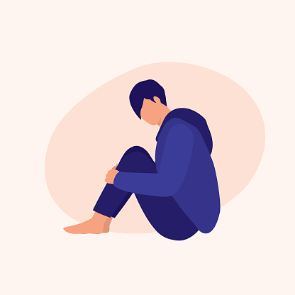 Young Sad Man Sitting. Mental Illness Concept. Vector Flat Cartoon Illustration.