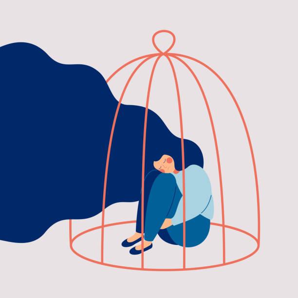 illustrazioni stock, clip art, cartoni animati e icone di tendenza di young sad woman locked in a cage. - assuefazione