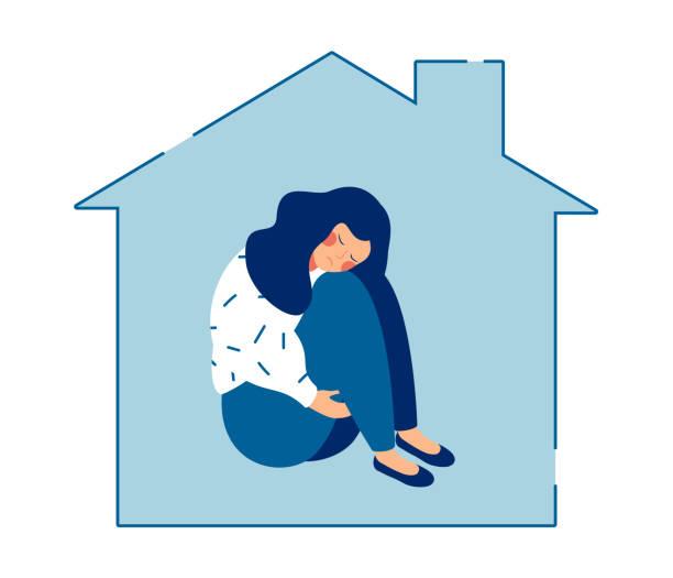 若い悲しい女性は家に一人で座って、彼女の膝を抱きしめた - 女性 落ち込む点のイラスト素材/クリップアート素材/マンガ素材/アイコン素材