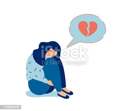 Young sad woman with broken heart unhappy hugging her knees and cry. Woman in depression with gloomy thoughts in speech bubble. Vector