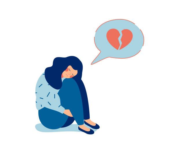 ilustrações de stock, clip art, desenhos animados e ícones de young sad woman with broken heart unhappy hugging her knees and cry - unfortunate