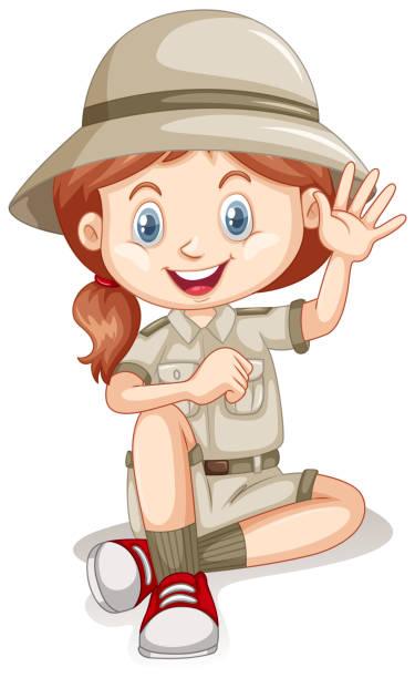 ilustrações, clipart, desenhos animados e ícones de uma garota jovem safari no fundo branco - explorador