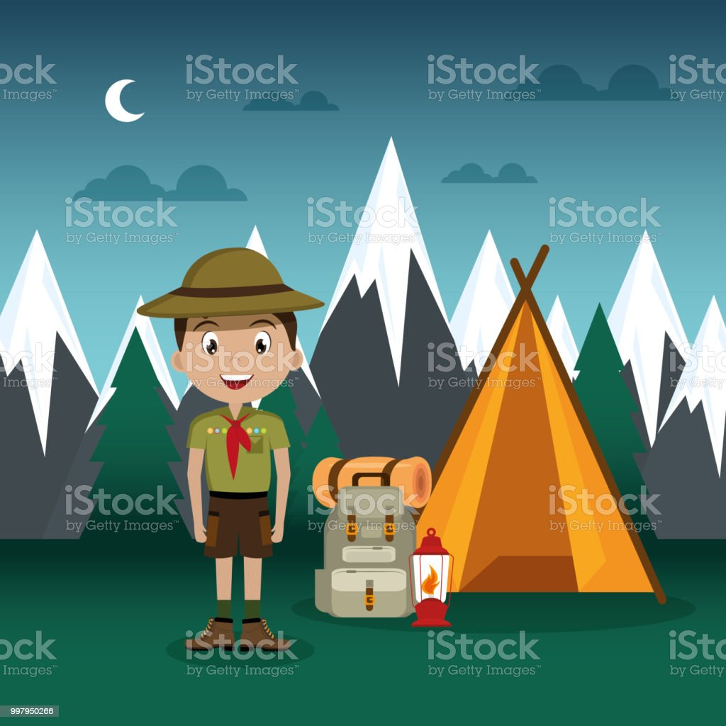 young scout in the camping zone scene vector art illustration