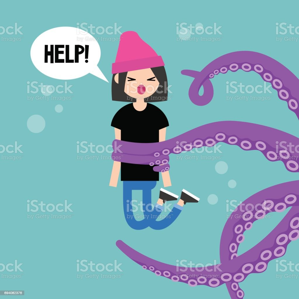 Young screaming female character attacked by octopus / flat editable vector illustration, clip art vector art illustration