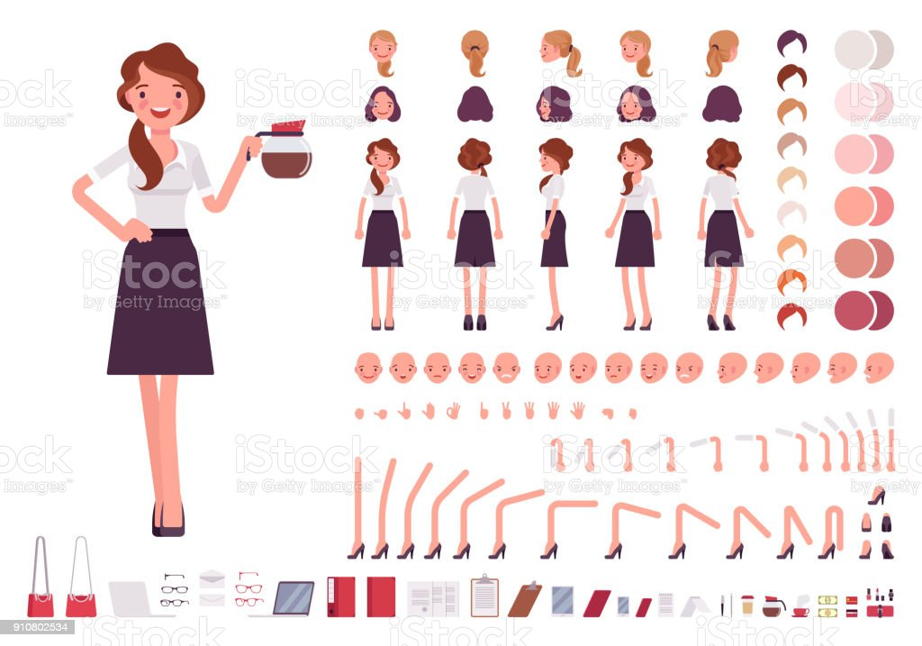 Young secretary character creation set royalty-free young secretary character creation set stock illustration - download image now