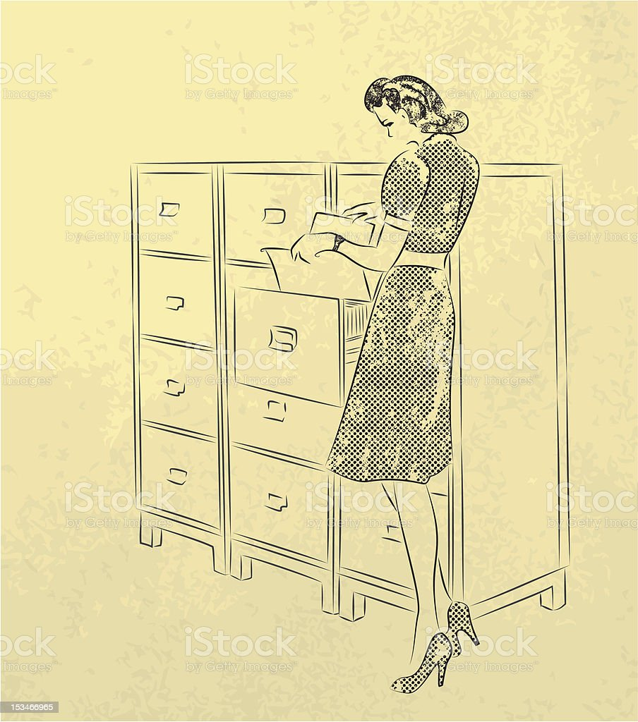 Young secretary looking for documents vector art illustration
