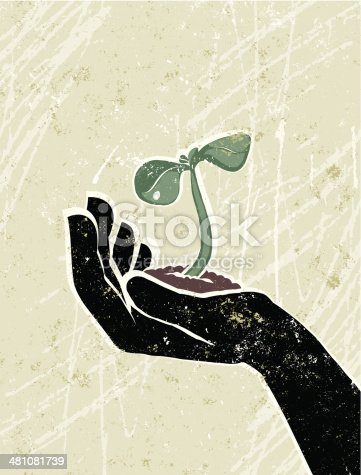 Growth! A stylized vector cartoon of a green shoot in a hand, reminiscent of an old screen print poster and suggesting hope, breakthrough,growth, new beginnings, recovery, rebirth, environmental issues or spring. Shoot,hand, paper texture, and background are on different layers for easy editing. Please note: clipping paths have been used, an eps version is included without the path.