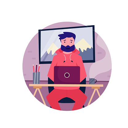 Young self employed hipster man working remotely from home. Vector illustration. Home office concept