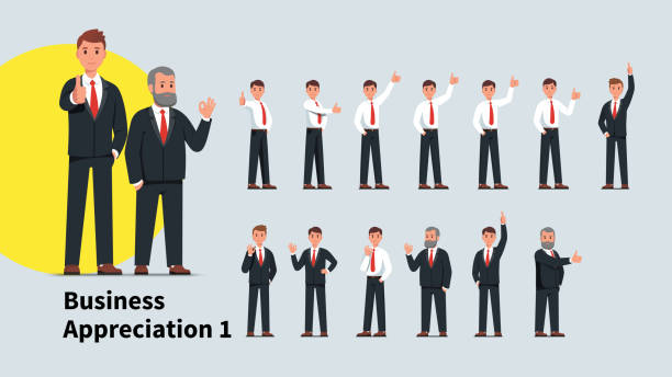 ilustrações, clipart, desenhos animados e ícones de homens de negócio novos e sênior que mostram o polegar acima do gesto e do sinal aprovado ajustados. executivos bem sucedidos dos caráteres que estão gesticulando o homem de negócios que mostra o gabarito positivo. coleção lisa da ilustração do ve - ceo