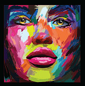 young sexy woman or girl with pretty face in knife acrylic painting style- vector illustration (Ideal for printing on fabric or paper, poster or wallpaper, house decoration) The portrait is totally fictitious