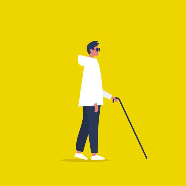 ilustrações, clipart, desenhos animados e ícones de caráter sightless novo que desgasta máscaras escuras e que prende um bastão. conceito. ilustração editable lisa do vetor, arte de grampo - só um homem jovem