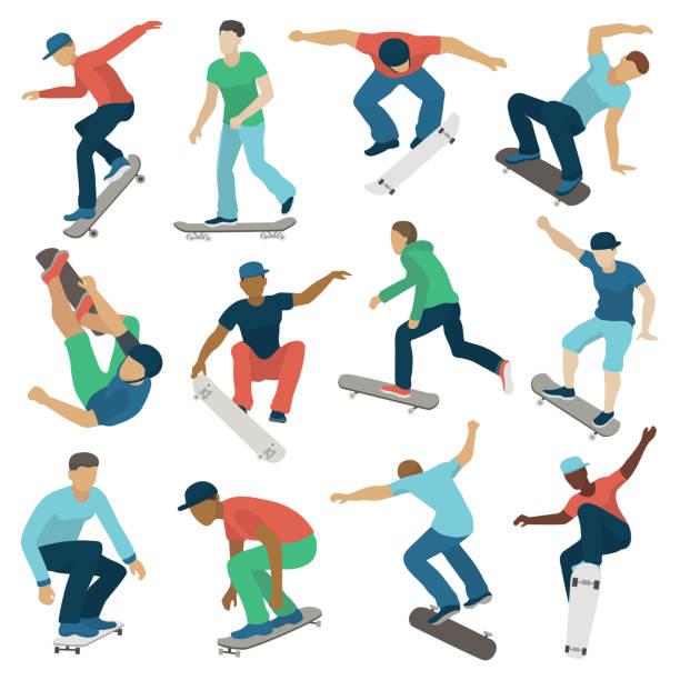 bildbanksillustrationer, clip art samt tecknat material och ikoner med unga skateboardåkare aktiva pojkar sport extrem aktiv skateboard hoppa tricks vektorillustration - skatepark